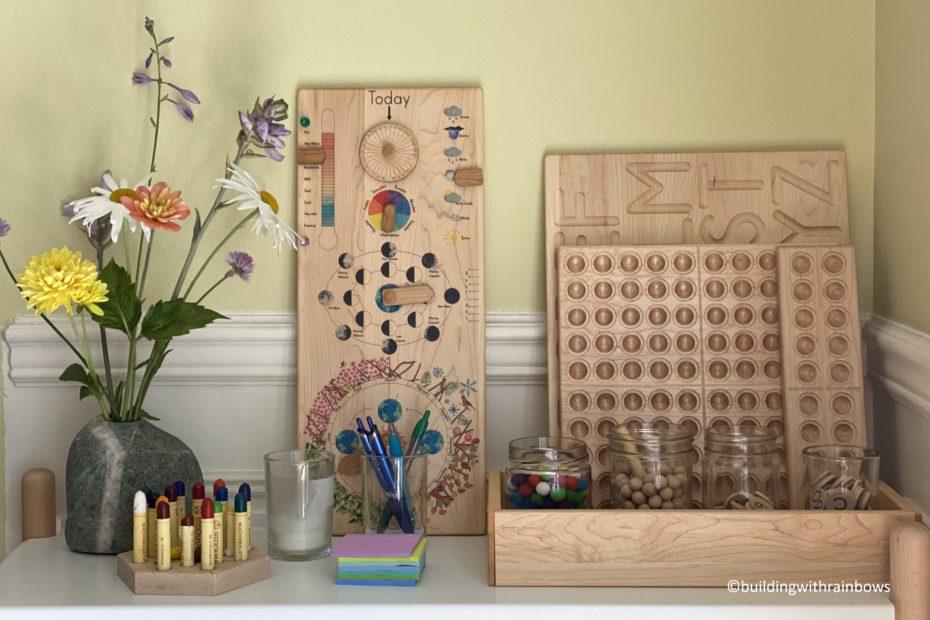 shelf of homeschool tools : treasures from jennifer, mirus toys, myer's toys