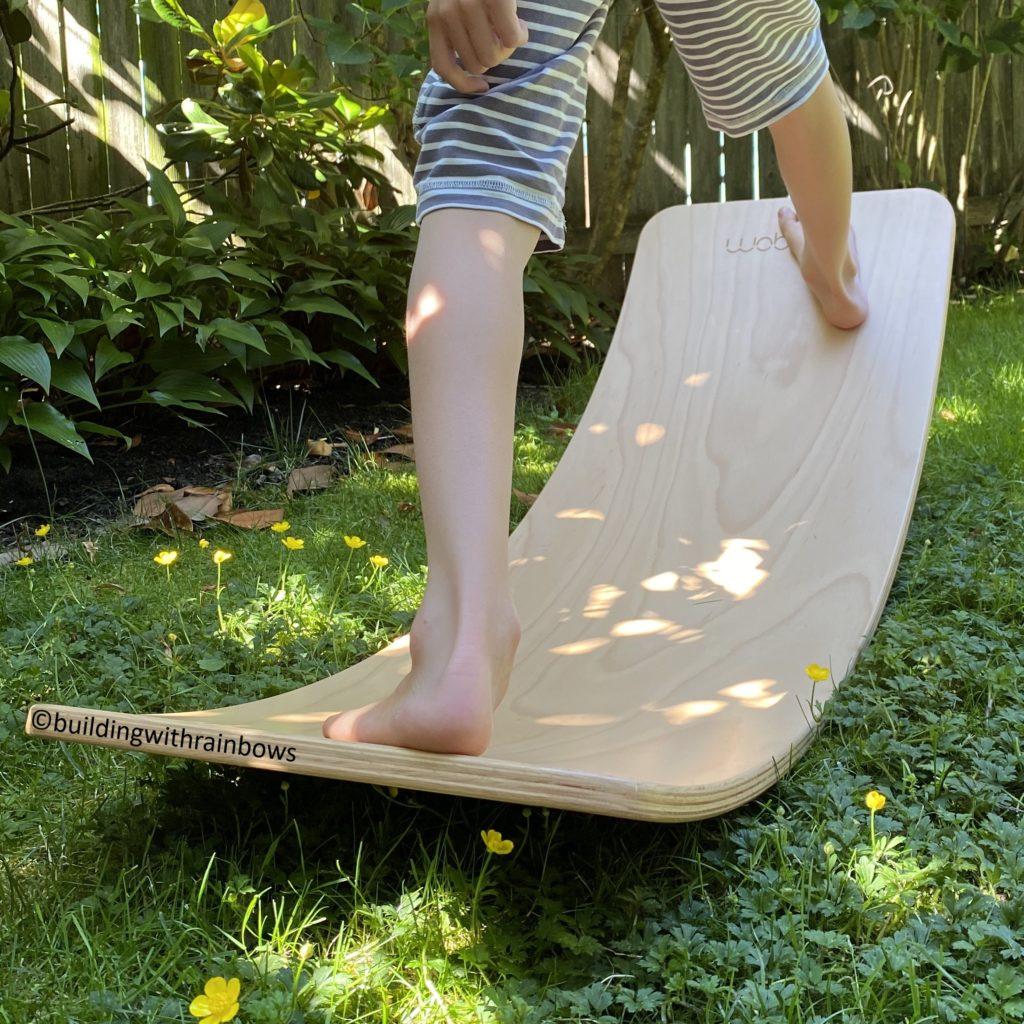 feet on a wobbel board outside