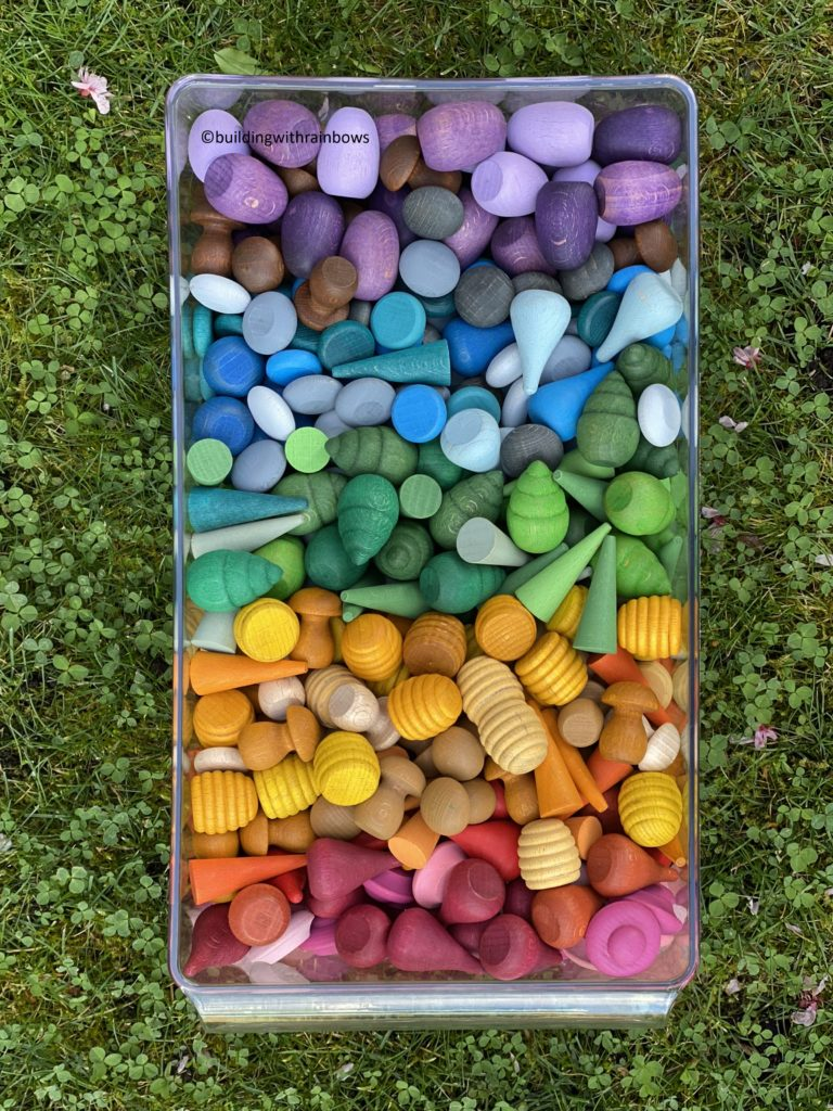 grapat mandala parts in a tray on the grass