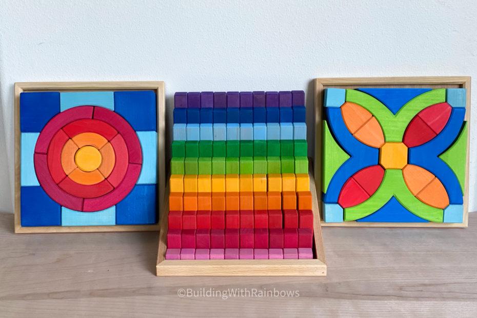 Bauspiel stepped counting blocks, circle blocks, epsilon blocks