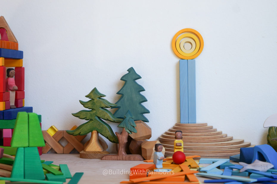 seaside scene built with wooden toys