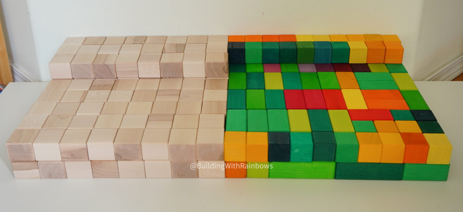 Just Blocks Big Box compared to Grimms Large Stepped Pyramid
