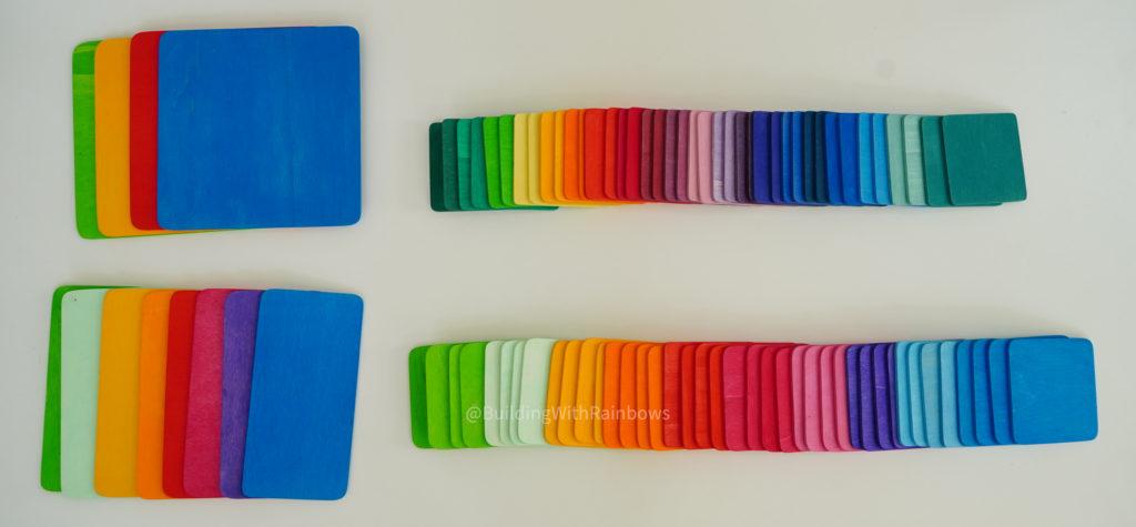 Grimm's color mats and Bauspiel building tiles size comparsion
