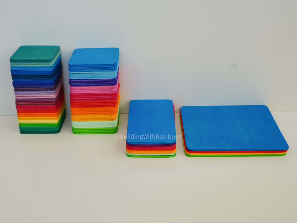 Grimm's color mats stacked next to Bauspiel Color Tiles -- side by side comp
