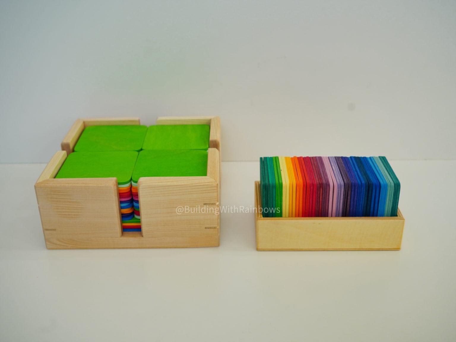 Bauspiel building tiles and Grimm's color mats side by side comparison