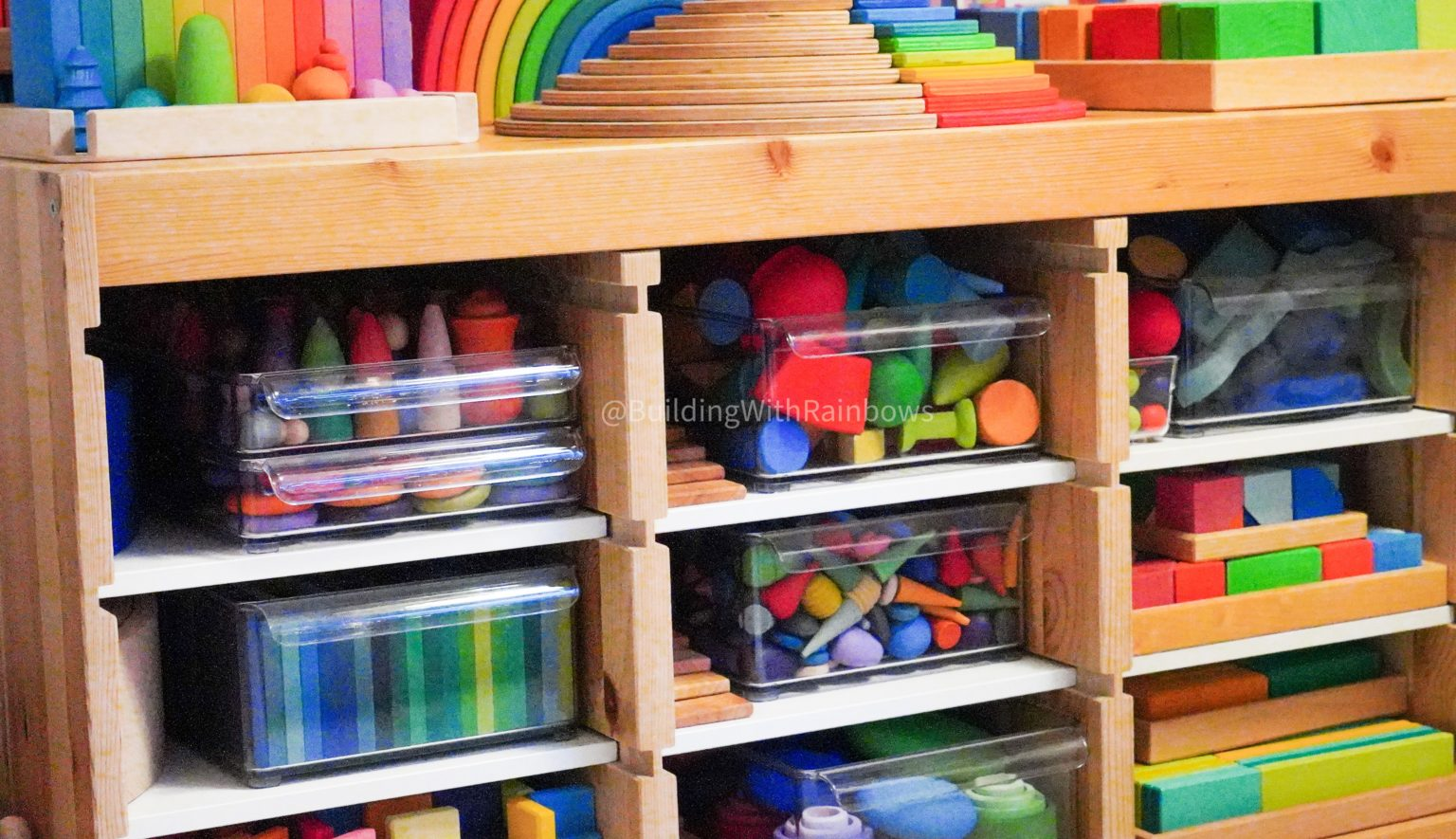 building with rainbows wooden toys