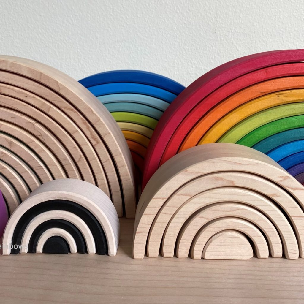 wooden rainbows, grimm's ocamora, myers